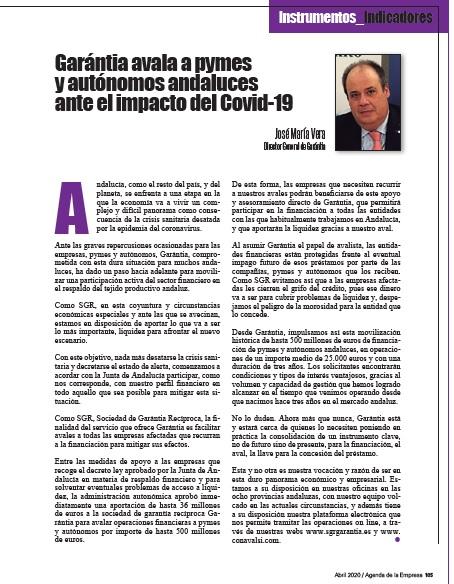 """Artículo del Director General de Garántia: """"Garántia avala a pymes y autónomos andaluces ante el impacto del Covid-19"""""""